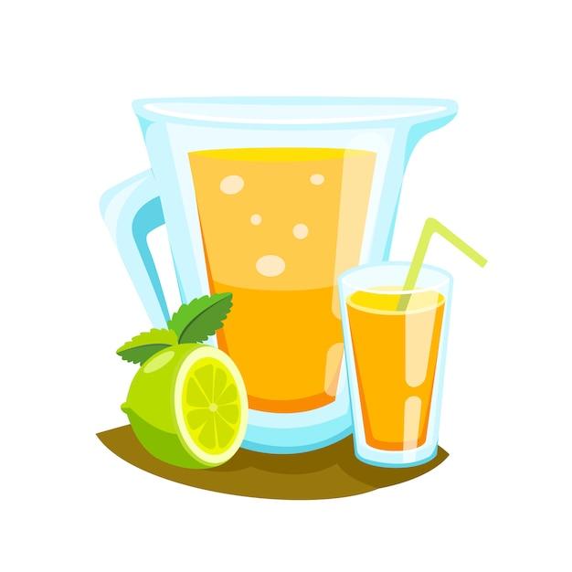 Batido do suco de laranja em uma caneca do frasco de pedreiro. Vetor grátis