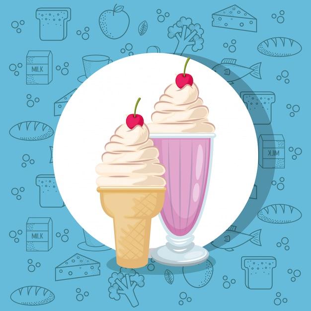 Batido e sorvete Vetor grátis