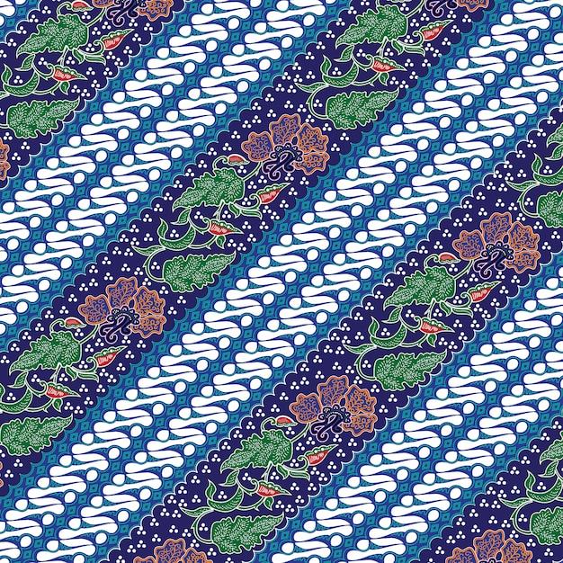 Batik de combinação indonésio com cor azul dominante Vetor Premium