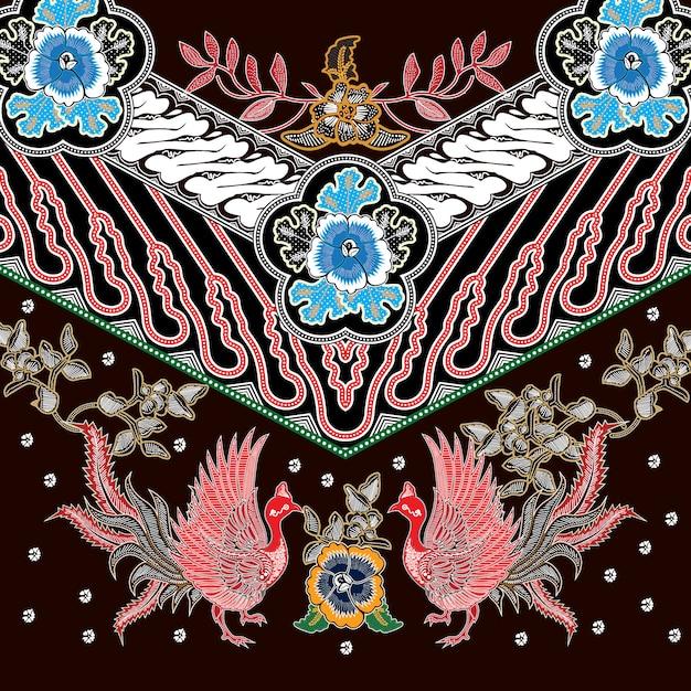 Batik de combinação indonésio com cor marrom dominante Vetor Premium