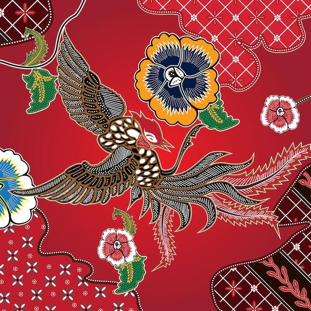 Batik de combinação indonésio Vetor Premium