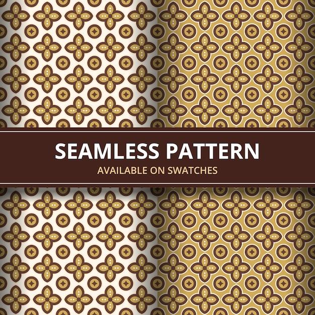 Batik tradicional elegante sem costura de fundo. luxo e motivo clássico para papel de parede de pano de fundo. Vetor Premium