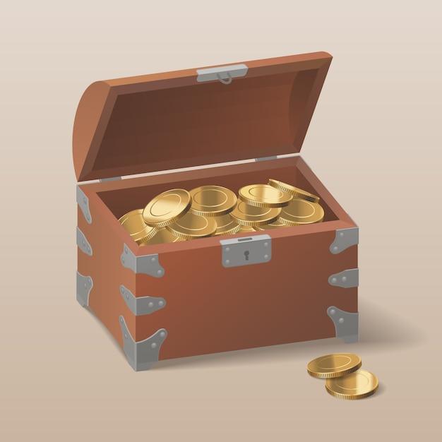 Baú com moedas de ouro Vetor Premium