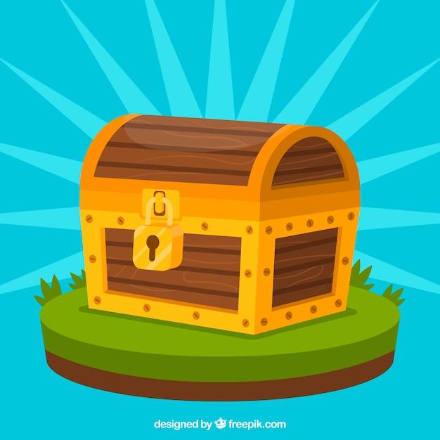 Baú de madeira com design plano Vetor grátis
