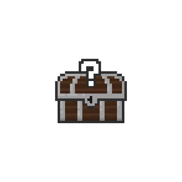 Baú de tesouro de pixel com sinal de pergunta Vetor Premium