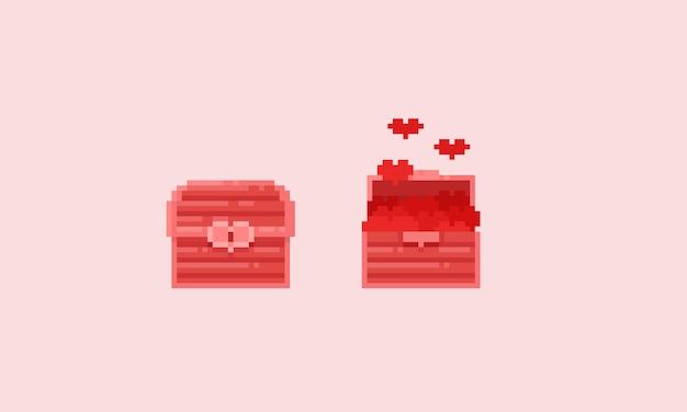 Baú de tesouro rosa pixel Vetor Premium