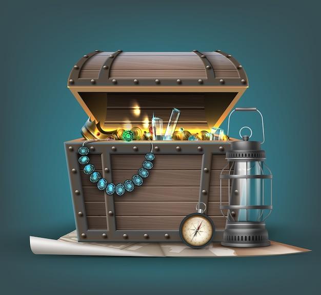 Baú do tesouro de madeira com joias, moedas, pedras preciosas e atributos de viajante Vetor Premium
