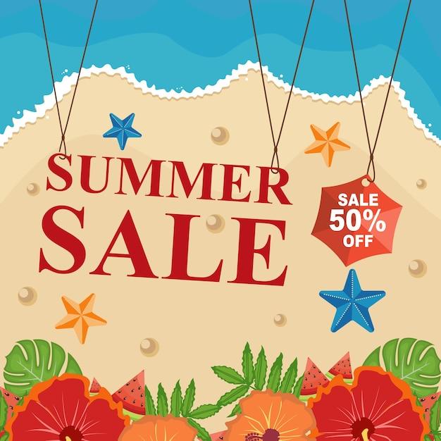 Beach summer sale banner desconto com flor floral Vetor Premium