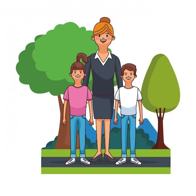 Beauitful mãe executiva com menino e menina no design gráfico de ilustração vetorial de parque Vetor Premium