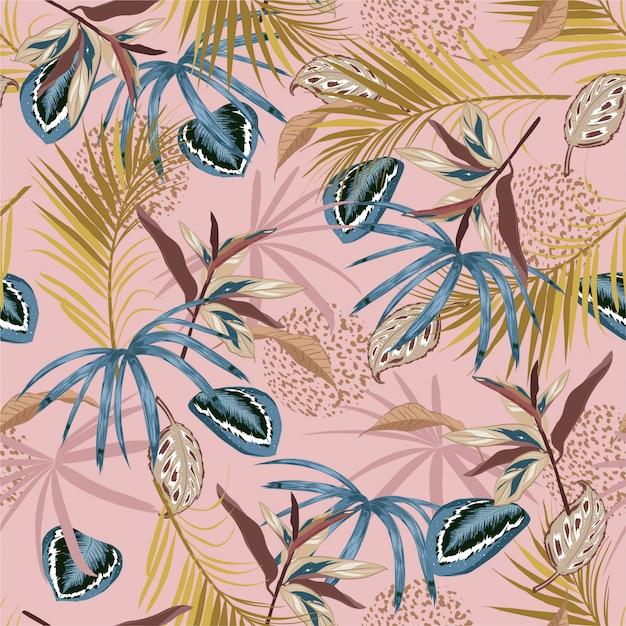 Beautiful retro padrão tropical sem emenda de vetor, folhagem tropical exótica, com plantas da floresta, folha de monstera, folhas de palmeira, pele de animal, flor, design de impressão moderna brilhante de verão Vetor Premium