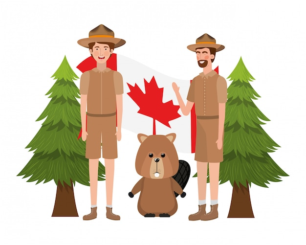 Beaver animal e guarda florestal do canadá Vetor grátis