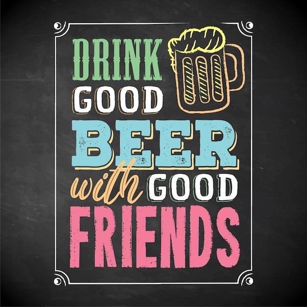 Beba cerveja com cartaz de banner de amigos Vetor Premium