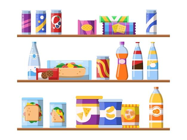 Beba comida nas prateleiras. biscoitos de lanches de fast-food e água em pé na vitrine ilustrações planas de merchandising Vetor Premium