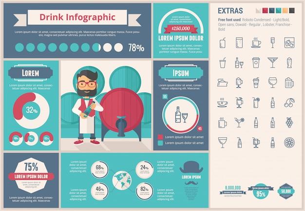Beba design plano infográfico modelo e conjunto de ícones Vetor Premium