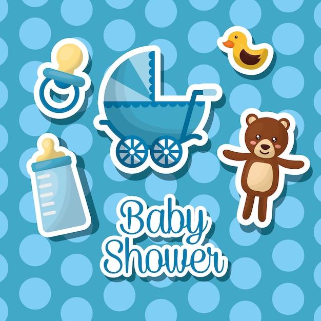 Bebê chuveiro celebração bolha fundo menino nascido teddy babe transporte garrafa leite Vetor Premium