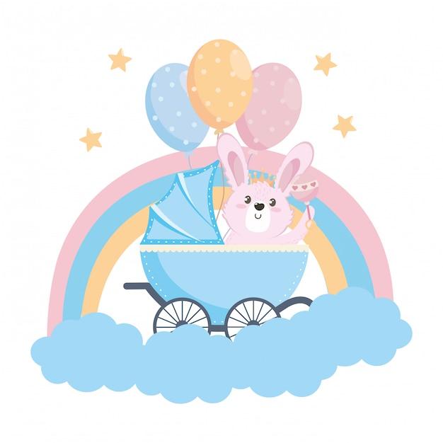 Bebê chuveiro, símbolo, e, coelho Vetor Premium
