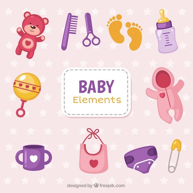 Bebê colorido objetos pacote Vetor grátis