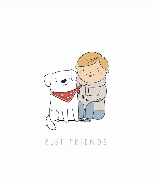 Bebê com cachorrinho. melhores amigos para sempre. Vetor Premium