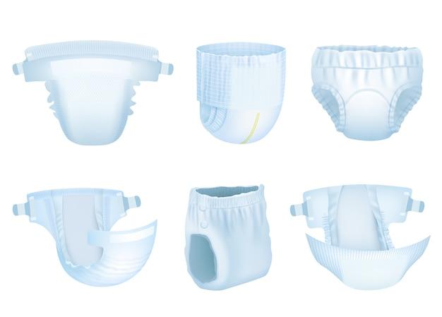 Bebê de fraldas. fraldas de crianças recém-nascidas de limpeza suave para o vetor de proteção de urina de material absorvente de xixi em camadas realista. fralda e proteção para bebês de ilustração, confortável para crianças Vetor Premium
