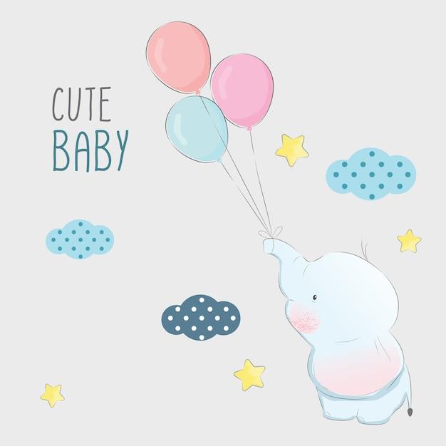 Bebê elefante brincando com balões Vetor Premium