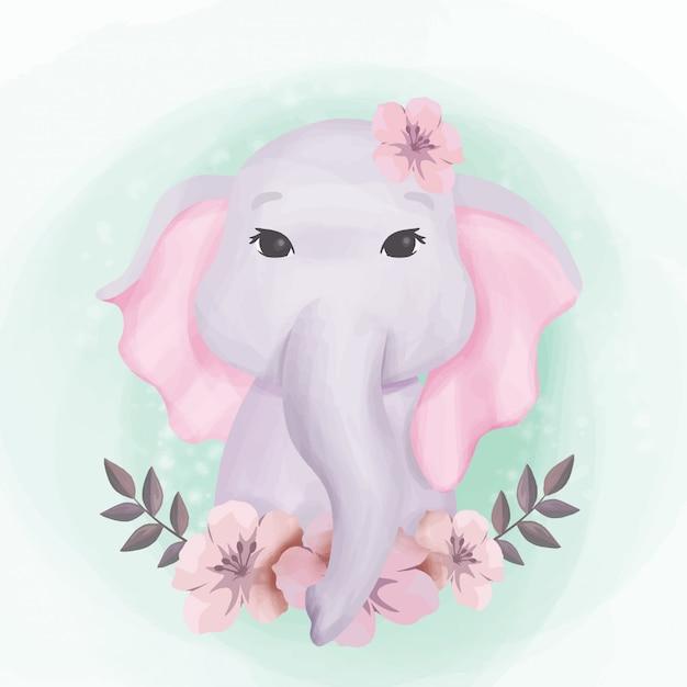 Bebê elefante fofo retrato ilustração Vetor Premium