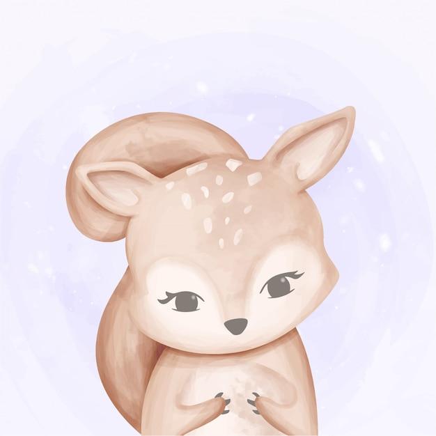 Bebê esquilo bonito aquarela Vetor Premium