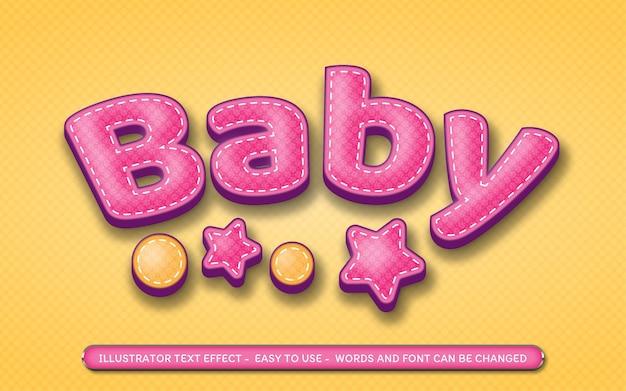 Bebê - estilo de efeito de texto editável Vetor Premium