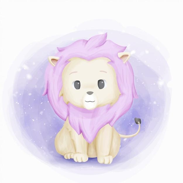 Bebê fofo leão rei da selva Vetor Premium