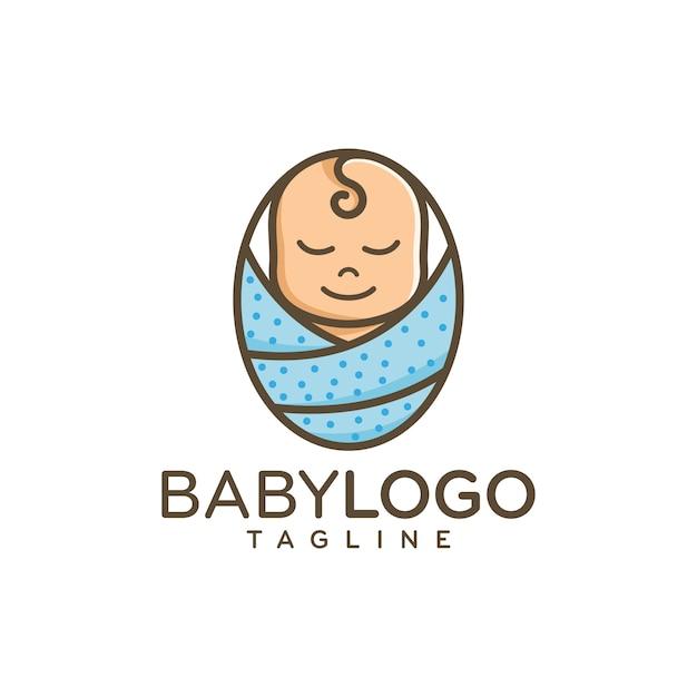 Bebê fofo logo design vector Vetor Premium