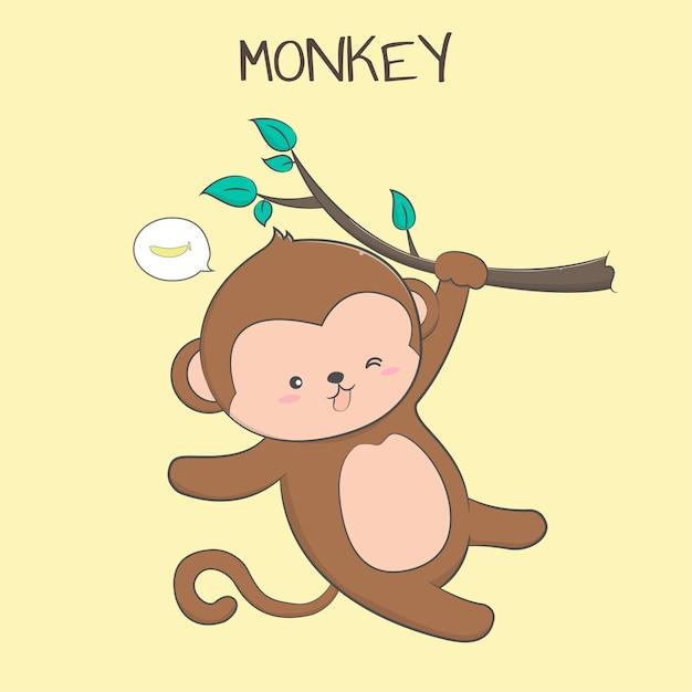 Bebe Fofo Macaco Pastel Dos Desenhos Animados Vetor Premium