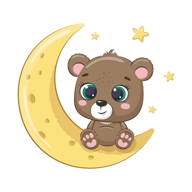 Bebê fofo urso sentado na lua. ilustração para chá de bebê, cartão, convite para festa, impressão de t-shirt de roupas da moda. Vetor Premium