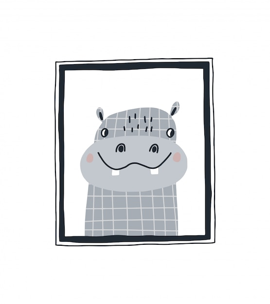 Bebê imprimir com um hipopótamo fofo no quadro. mão de ilustração vetorial desenhada no design de estilo escandinavo para crianças. Vetor Premium