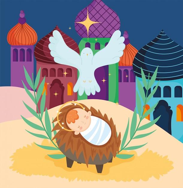 Bebê jesus em um berço com uma pomba Vetor Premium