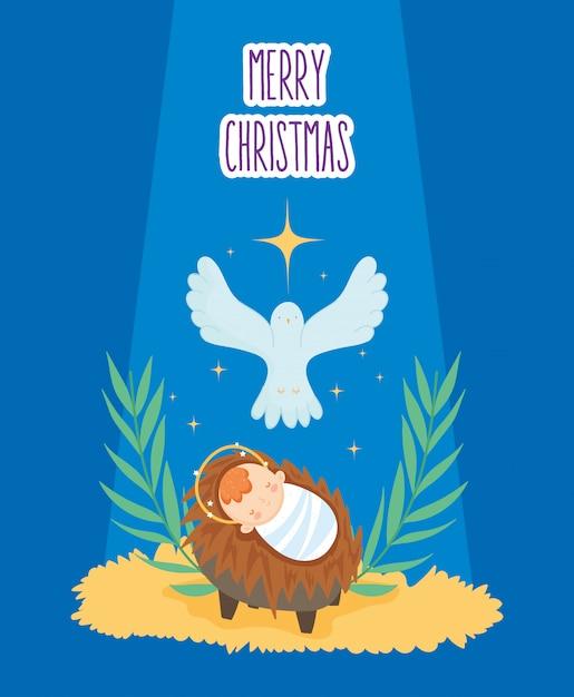 Bebê jesus no presépio e manjedoura natividade, feliz natal Vetor Premium