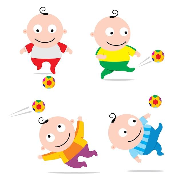 Bebê jogando futebol, engraçado dos desenhos animados Vetor Premium