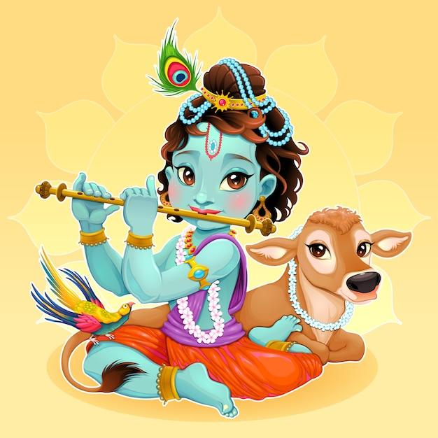 Bebê krishna com vaca sagrada vector ilustração dos desenhos animados do deus hindu Vetor grátis