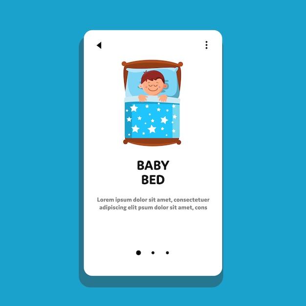 Bebê na cama dormindo, menino, bons sonhos Vetor Premium