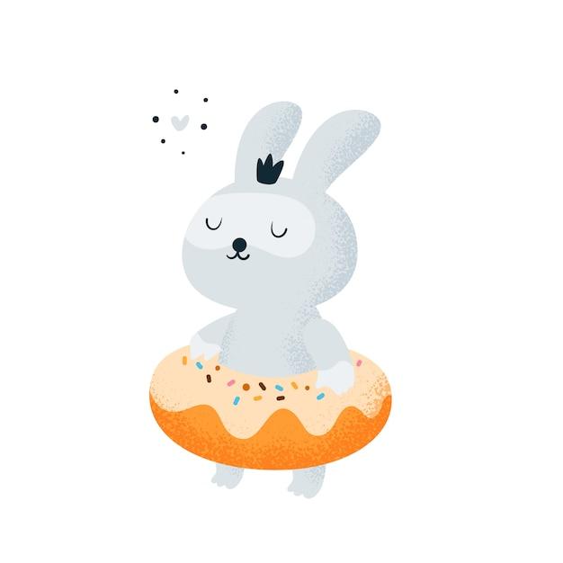 Bebê pequeno engraçado do coelho que relaxa na praia, associação. donut e coelho Vetor Premium