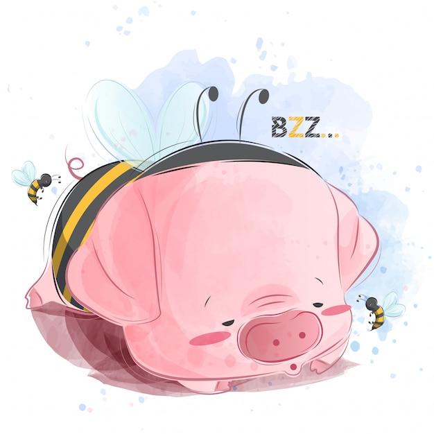 Bebê porquinho dormindo em traje de abelha Vetor Premium