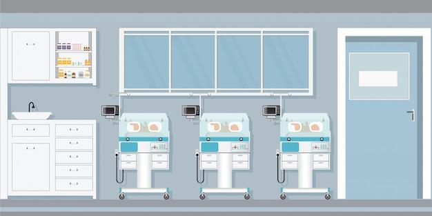 Bebê recém-nascido da puericultura dentro das incubadoras infantis no hospital. Vetor Premium