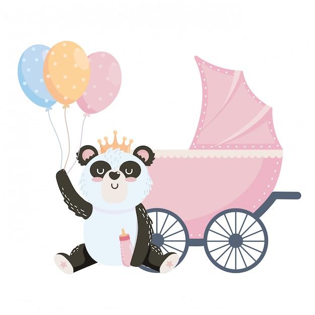 Bebê, símbolo chuveiro, e, panda Vetor Premium