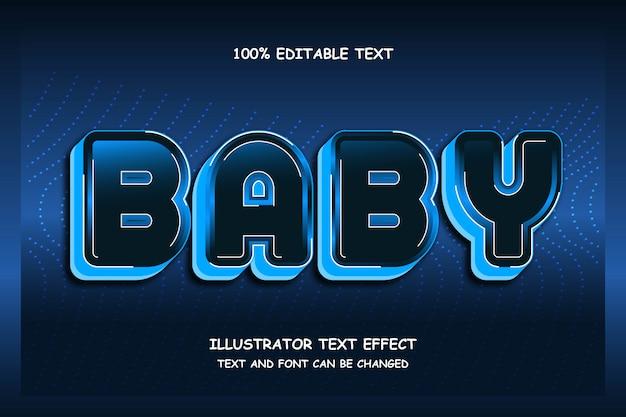 Bebê, sombra editável de efeito de texto moderno estilo led Vetor Premium