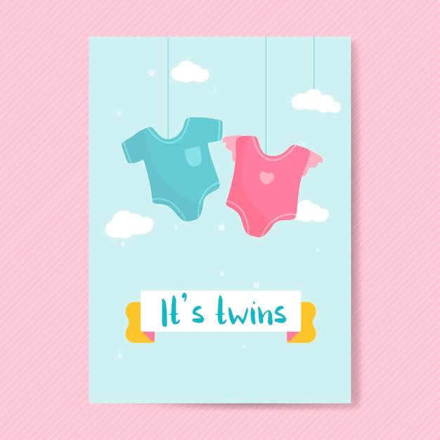 Bebês gêmeos revelam cartão Vetor grátis