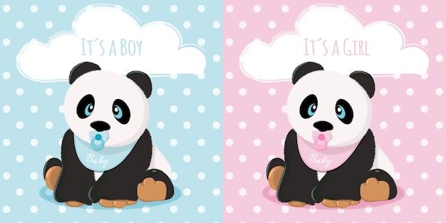 Bebês panda menino e menina Vetor Premium