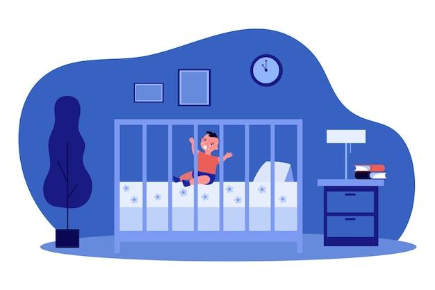 Bebezinho chorando no berço à noite. Vetor Premium