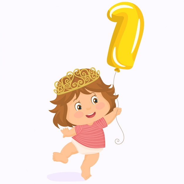 Bebezinho com coroa. primeiro aniversário. Vetor Premium