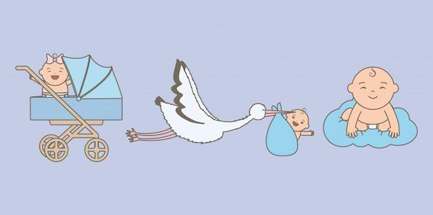 Bebezinhos com cegonha e carrinho Vetor grátis