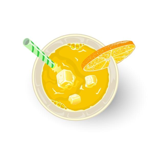 Bebida amarela de frutas cítricas e outros ingredientes em copo com canudo, rodela de laranja ou limão. aperitivo, paraíso de coquetéis alcoólicos, chave de fenda, tequila nascer do sol, mimosa. mocktail. vista do topo. Vetor Premium