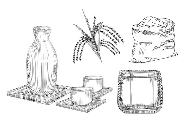 Bebida de álcool de arroz japonês tradicional. coleção de vaso de cerâmica e copo, caule e arroz saco, barril de saquê. Vetor Premium