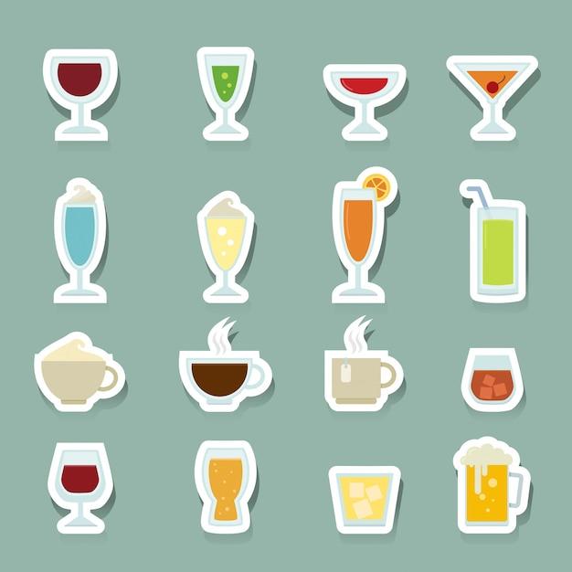 Bebida, ícones, jogo Vetor Premium